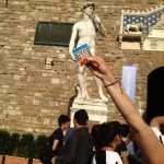 Tanya in Florence strategically holds up her Flax Pak!